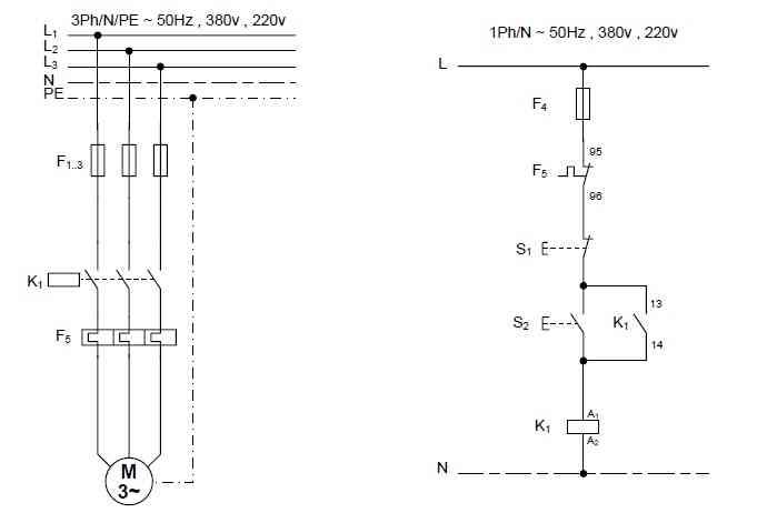 راه اندازی موتور سه فاز به صورت اتصال دائم و لحظه ای کنترل از یک نقطه