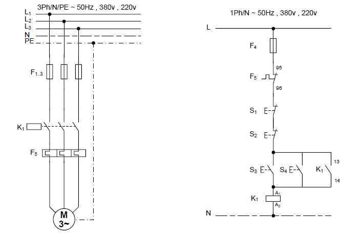 راه اندازی موتور سه فاز به صورت اتصال دائم کنترل از دو نقطه